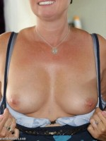 Wife flashing her tits